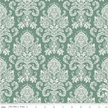 Postcards For Santa Damask Green