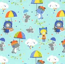 Puddle Play on Flannel - Blue