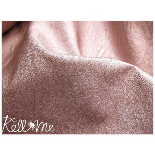 Metálfényes vékony textilbőr - lazac