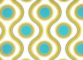 Susette Coastal Blue/Saffron vastag lakástextil