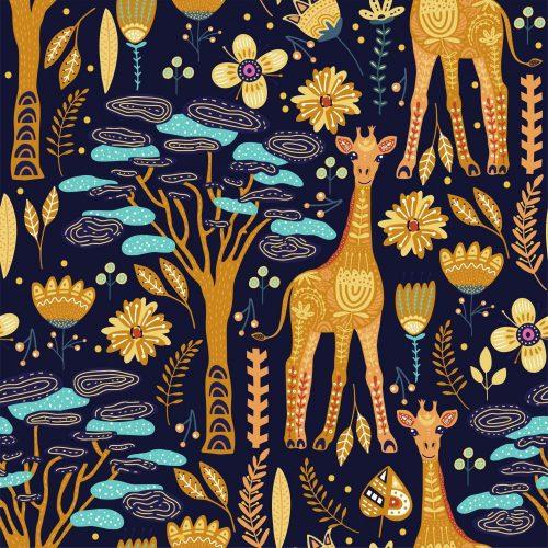 Giraffes and flowers