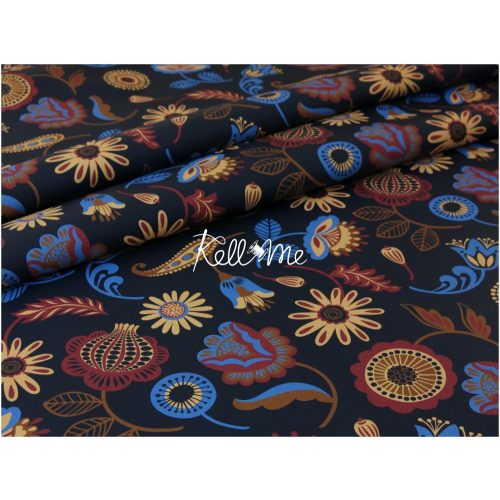 Textilbőr - Modern Folklor Flower on blue