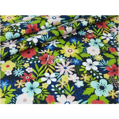 Textilbőr - Flowers on blue