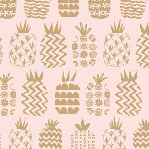 Ocean Drive Metallic Pineapples Pink