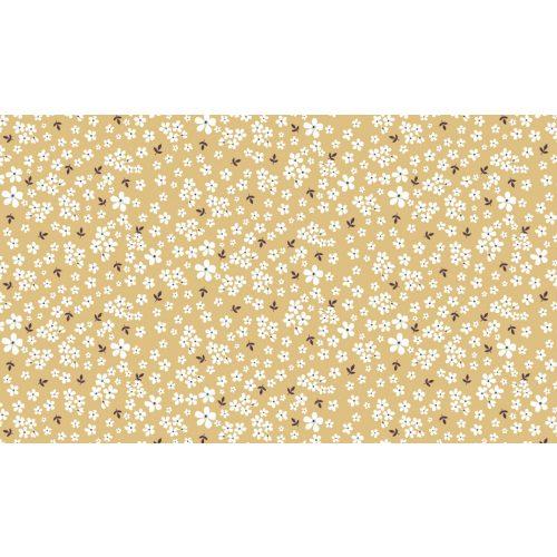 Organikus pamut - Okker alapon apró virágok